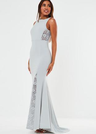 Missguided платье серое длинное макси длинное в пол вечернее классическое с гипюром новое