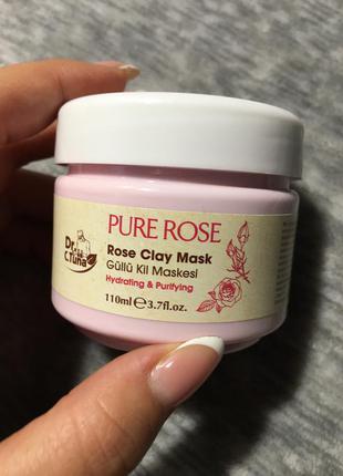 Глиняная маска для лица farmasi dr.tuna pure rose, rose clay mask.