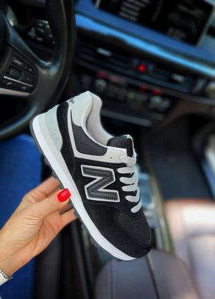 Чорные замшевые кроссовки new balance 574, жіночі замшеві кросівки