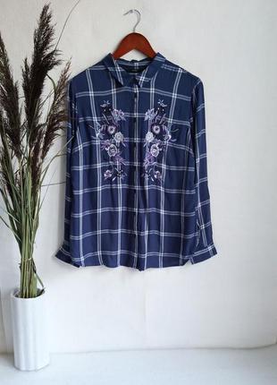 ✨неймовірна , натуральна рубашка в клітинку ,із вишивкою . віскоза , вискоза , вышивка ✨1 фото