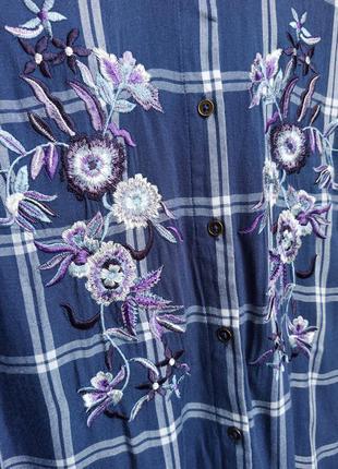 ✨неймовірна , натуральна рубашка в клітинку ,із вишивкою . віскоза , вискоза , вышивка ✨3 фото