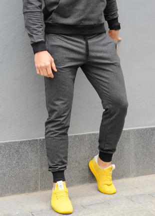 Темно-серые мужские спортивные штаны трикотажные, модные хлопковые брюки сезона весна-осень хб