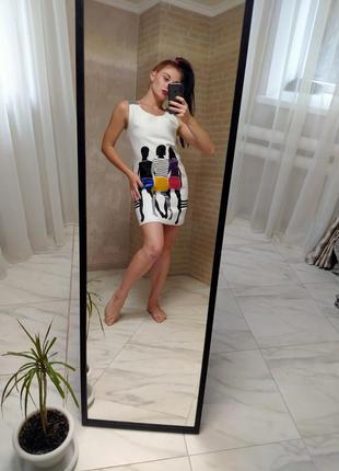 Платье, белое платье, платье в принт, осенее платье, платье вечернее ,нарядное платье, платье мини, платье миди
