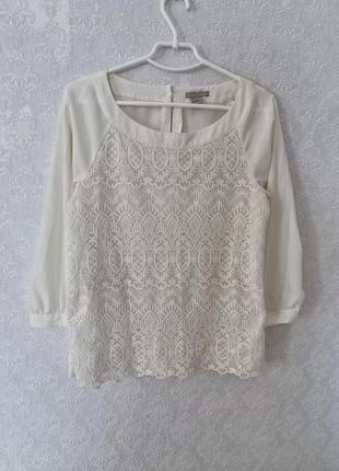 Блуза женская бежевая кружево сетка