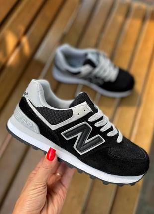Натуральная замша, чёрные женские удобные кроссовки