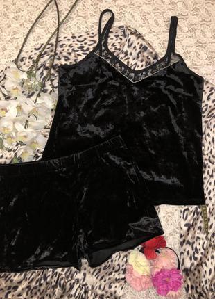 Черная велюровая пижама, майка и шорты time to dream, s.