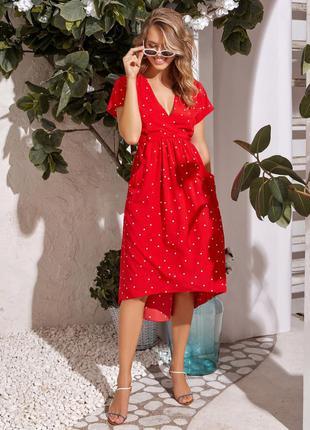 Черное красное лёгкое платье миди в горошек с коротким рукавом