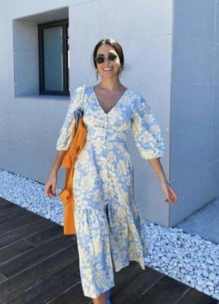 Платье на пуговицах в цветочный принт