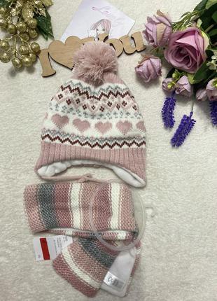 Шапка, шарф, комплект на малышку