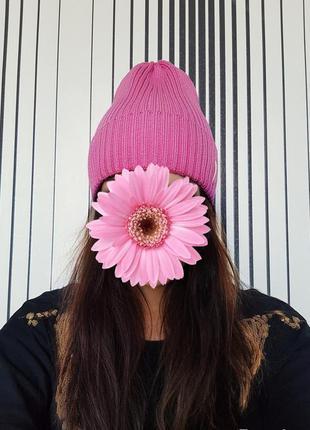 Демисезонная женская осенняя шапочка шапка хлопок розовая голубая салатовая пудра фиолетовая лаванда