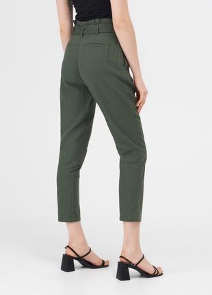 Новые укороченные тканевые болотные штаны хаки темно-зеленые брюки paperbag xxs xs s m