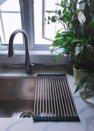 Складная сушка сушилка решетка для посуды и овощей на мойку (раковину)