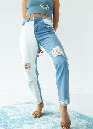 Двухцветные джинсы с рваной отделкой