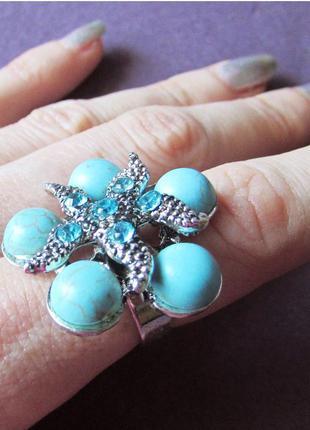 🏵модное кольцо звезда с бирюзой, безразмерное, новое! арт. 3624