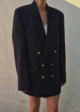Винтажный шерстяной двубортный пиджак жакет оверсайз мужской фасон стиль burberry