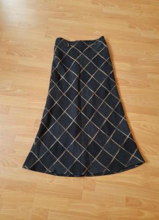 Турция длинная теплая юбка клетчатая  тепла спідниця в клітинку