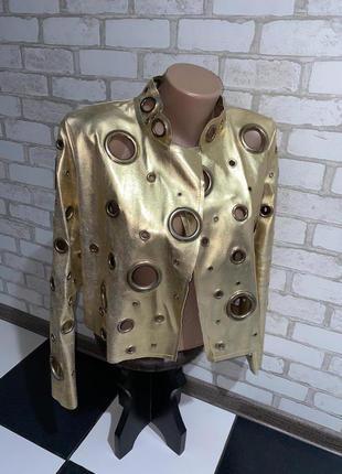 Женская ветровка пиджак жакет куртка золотая желтая с люверсами в дырках