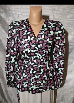 Блуза на запах, батист, принт черешня, датского премиум бренда resume