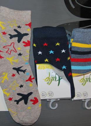 Демисезонные носки 7-9, 9-11 лет bross звезды самолеты полоски бросс турция
