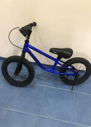 Беговел - велобег (brn) b-2, 12 дюймов, air wheels, с ручным тормозом, синий