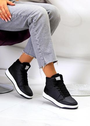 Ультра модные черные женские высокие кроссовки кеды хайтопы