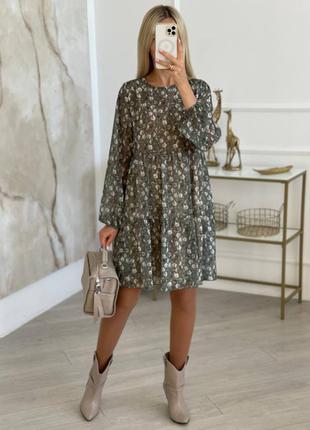 Платье женское шифоновое оливковое в цветочек. размер: 42-52