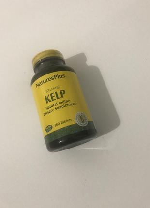 Ламинария, натуральный йод natures plus icelandic kelp natural iodine, 300 таблеток