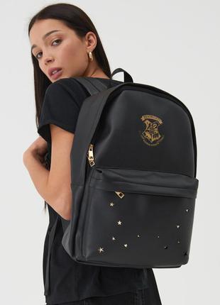 Новый большой черный рюкзак гарри поттер хогвартс harry potter hogwarts золотистые звезды