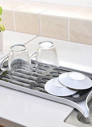 Сушилка сушка для посуды и фруктов, овощей со сливом на кухонную раковину (мойку) органайзер