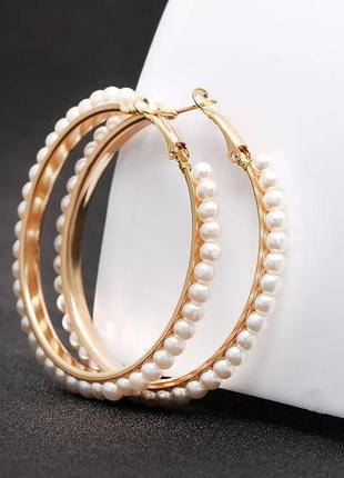 Серьги кольца золотистые с жемчугом сережки