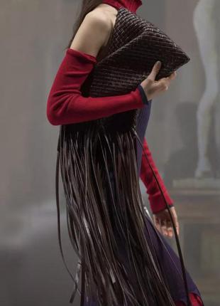 Стильная плетёная сумка клатч с бахр в стиле bottega veneta