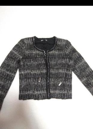 Пиджак шерстяной,жакет с вырезом,теплий піджак
