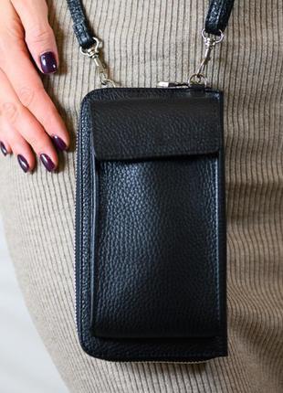 """Женская кожаная сумка-кошелек через плечо """"ricambio"""" черная"""
