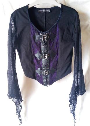 Готичный топ блуза с прозрачными рукавами и пряжками паутина готика хэллоуин