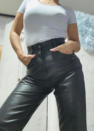 Кожаные брюки штаны отливное качество высокая посадка