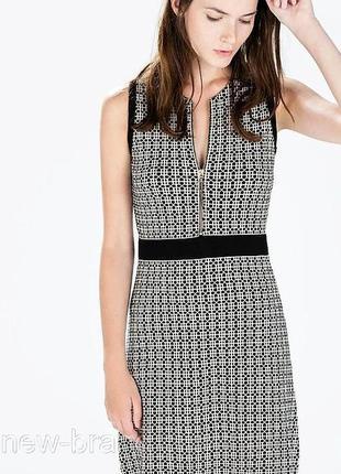 Трикотажное платье сарафан zara😍 платье в гусиную лапку