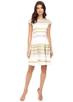 Ted baker платье белое с полосками салатовые розовые жёлтые яркое свободное базовое