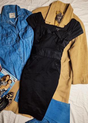 Ted baker платье чёрное по фигуре карандаш футляр миди с поясом с вырезом классическое нарядное