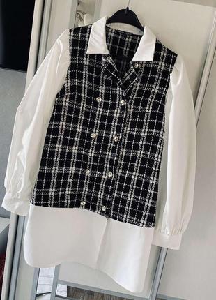 Нереально стильное платье - рубашка из букле твид на пуговицах с обьемными рукавами