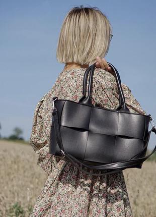Чёрная женская сумка кожзам кросс боди плетёная