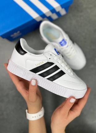 Женские кеды adidas originals sambarose w white/black