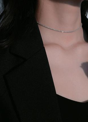 Цепочка-чокер, серебряное покрытие 925 пробы