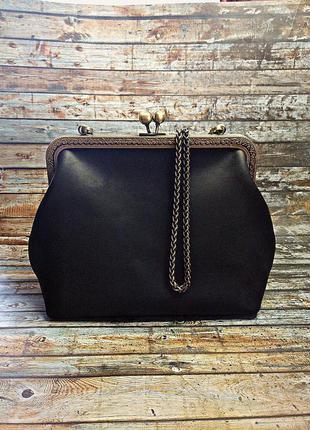 """Чёрная кожанная сумка с фермуаром (застёжка """"поцелуйчик"""")"""