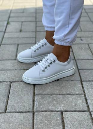 Акция! кожаные кеды женские белые натуральная кожа кросівки жіночі кеди білі шкіряні