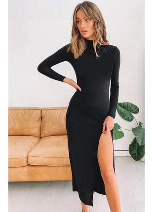 Стильное сексуальное платье миди с распоркой /свитшот / тёплое