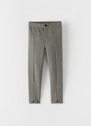 Zara новые теплые лосины с молниями леггинсы в клетку штаны штани осень зима