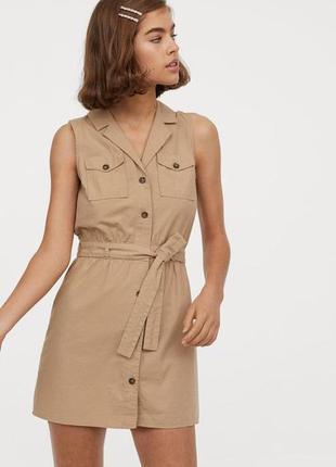 Хлопковое платье бежевое халат нюдовое от h&m натуральное легкое