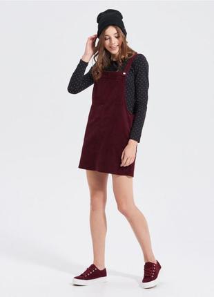 Сарафан платье цвета марсала бордовый вельветовый new look