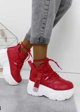 Женские кроссовки кожаные красные, женские кроссовки на массивной подошве, женские кроссовки на платформе и танкетке
