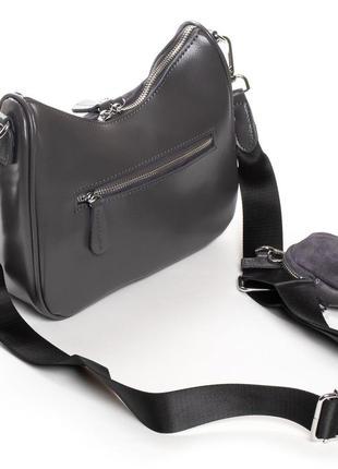 Женская кожаная сумка с фасадом из натуральной замши